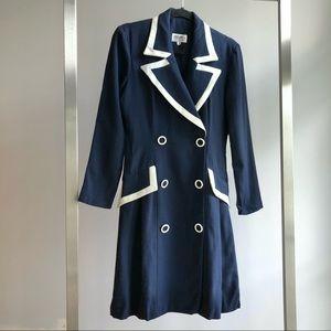 1990s Vintage Navy & White Wool Crepe Coat Dress